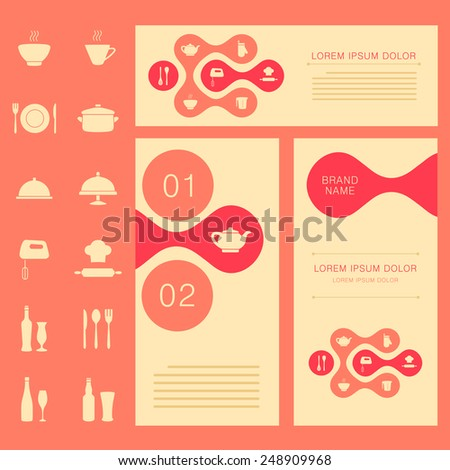 vector restaurant menu card, food background, cook chef banner design