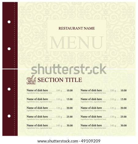 Vector. Restaurant menu design. Full design concept - stock vector