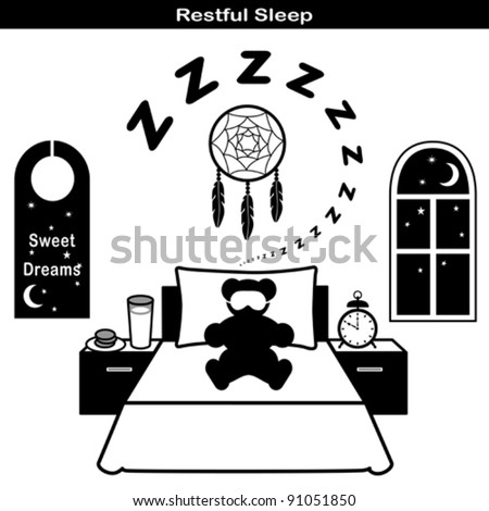 vector - Restful Sleep Symbols: Teddy bear, sleeping mask, comfortable bed, pillow, snore, zzz, dream catcher, milk, cookies, night window, moon and stars, sweet dreams door hanger,  EPS8 compatible. - stock vector