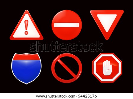 Vector Restrictive signs, on black - stock vector
