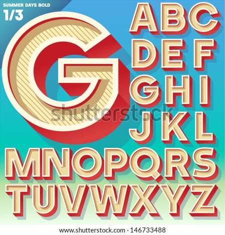 Vector retro alphabet for Summer typography design. Simple Bold Style. Upper cases - stock vector