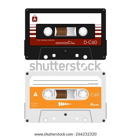 vector retro audio cassettes. - stock vector
