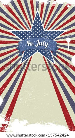Vector retro background for Independence Day and other events
