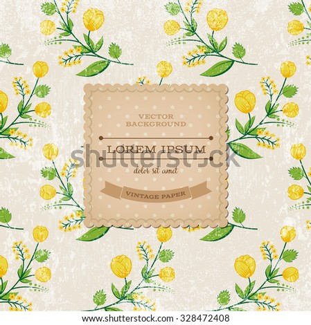Vector retro background with floral ornament and a square cardboard banner - stock vector