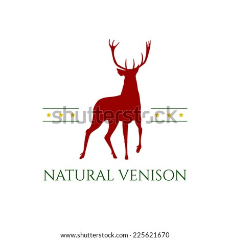 Vector retro badge with deer silhouette guaranteeing meat quality.  - stock vector