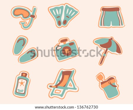 vector retro beach icons set 1 - Separate layers for easy editing - stock vector