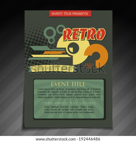 Vector Retro Brochure Flyer Template Design Stock Vector