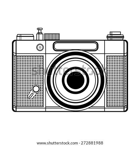 Vector retro camera - stock vector