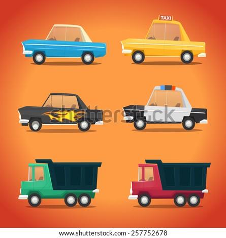 Vector retro car icon set - stock vector