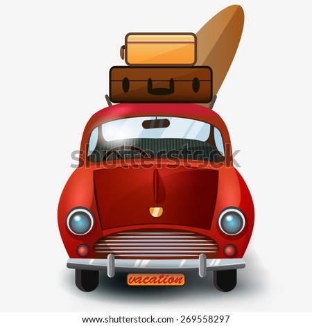 Vector retro car with luggage isolated on white background