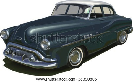 Vector retro car 50 years  isolated on white background with shadow