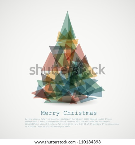 Vector retro card with abstract retro christmas tree - stock vector