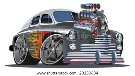 Vector retro cartoon hotrod (engine full complete). Separated by layers and groups. More vector cartoon cars see in my portfolio. - stock vector