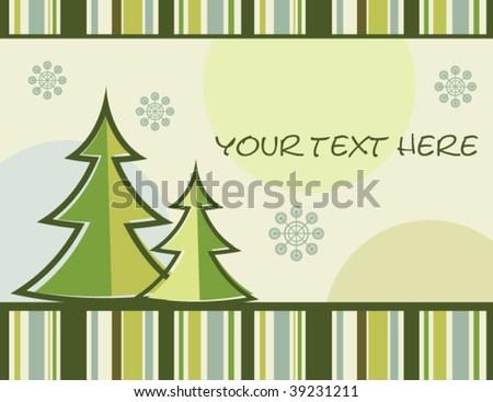 vector retro christmas tree card - stock vector