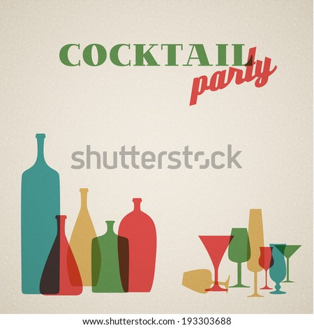 Vector Retro Coctail party invitation card with glasses and bottles - stock vector