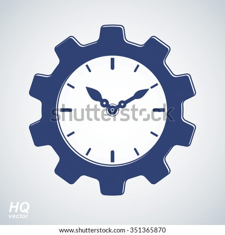 Vector retro cog wheel and clock with an hour hand, business organizer symbol. Production process planning conceptual icon. Industry and engineering design element, gear. - stock vector