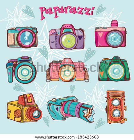 Vector retro colorful set pattern with cameras. - stock vector