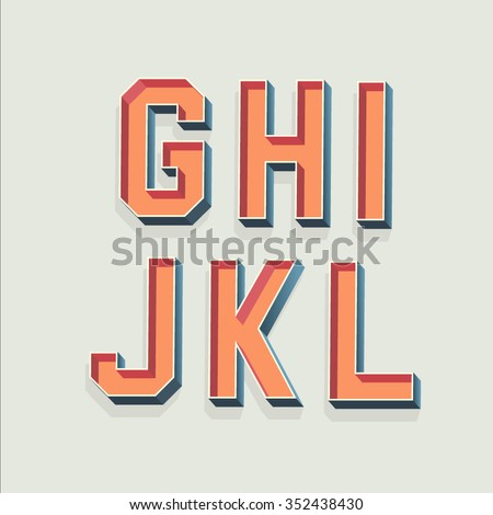 Vector Retro 3D Font with shadow. Vintage Alphabet from G to L - stock vector
