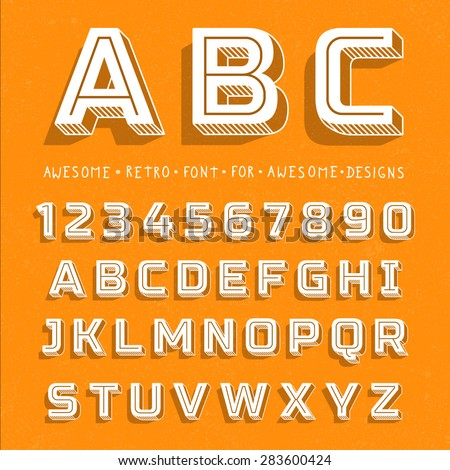 Vector Retro 3D Font with shadow. Vintage Alphabet on grunge background - stock vector