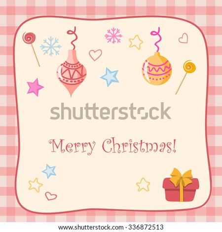 Vector retro design of christmas card with hand drawn elements. EPS 10.