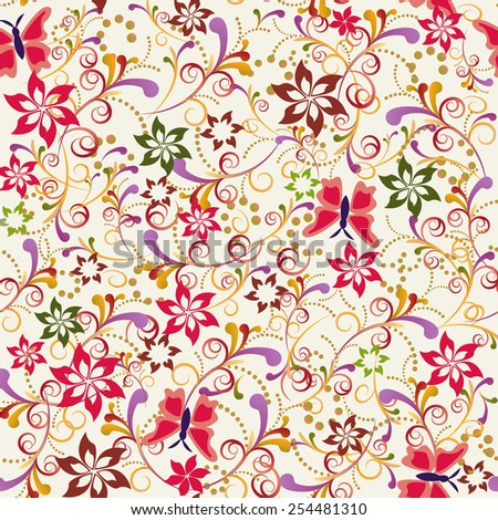 Vector retro elegance seamless pattern Butterfly and Flower - Illustration  - stock vector