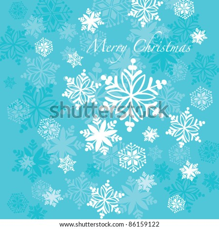 Vector retro falling snowflakes greeting card - stock vector
