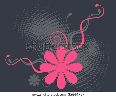 vector retro floral background - stock vector