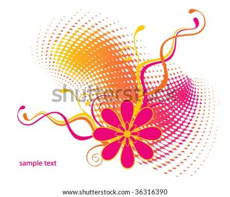 vector retro floral background - stock vector