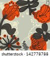 Vector retro floral background, frame - stock photo