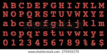 Vector retro font with bulbs. - stock vector