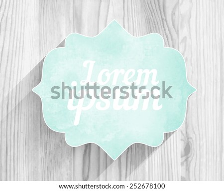 Vector retro frame mint watercolor banner with shadow on white wood texture background - stock vector