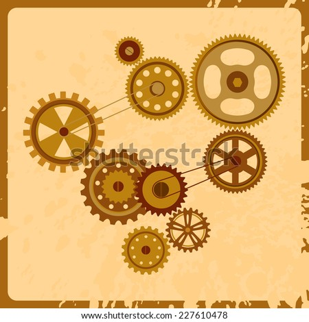 Vector retro gears icons. Vintage technology elements. Industrial illustration