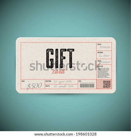 Vector Retro Gift card template - stock vector