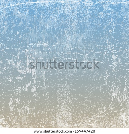 Vector retro grungy messy scratched light beige and blue paper background. Vintage used weathered texture with wrinkles, stains and scratches. Can be used for grungy web, banner and print design.  - stock vector