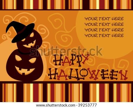 vector retro Halloween card - stock vector
