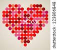 Vector retro heart made from color circles - stock photo