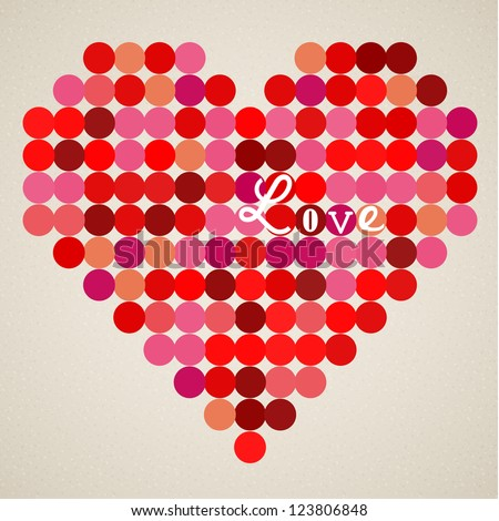 Vector retro heart made from color circles - stock vector