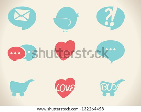 Vector retro icons - stock vector