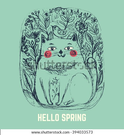 Vector retro illustration with rough pencil texture: Hello spring. Retro poster with hand drawn cute cat. Sketchbook