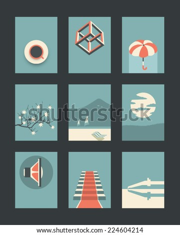Vector Retro Illustrations Collection  - stock vector