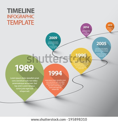 Vector retro Infographic Timeline Template with pointers - stock vector