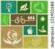 Vector retro labels with ecology signs and icons - stock photo