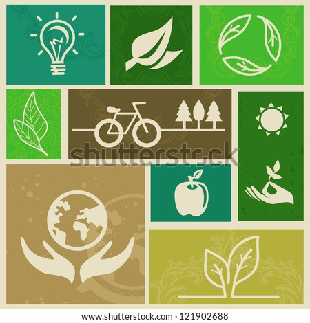 Vector retro labels with ecology signs and icons - stock vector
