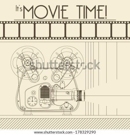 Vector Retro movie poster with Vintage Movie Projector background illustration - stock vector