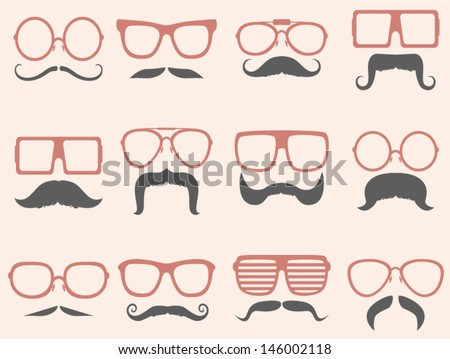 vector retro mustaches set - Separate layers for easy editing - stock vector
