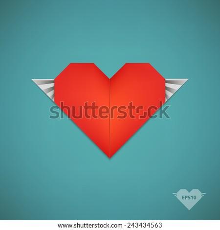 Vector Retro Paper Origami Heart Wings Stock Vector 243434563