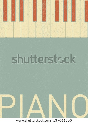 vector retro piano keyboard illustration - stock vector