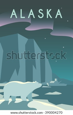 Vector retro poster in art Deco style. The state of Alaska. Arctic. Polar night. Polar bear. Ice floes and icebergs. Flat design. - stock vector