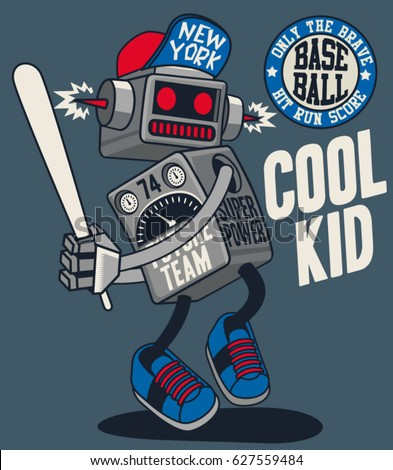vector retro robot, baseball player
