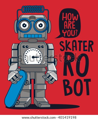 vector retro robot on skateboard, skater - stock vector